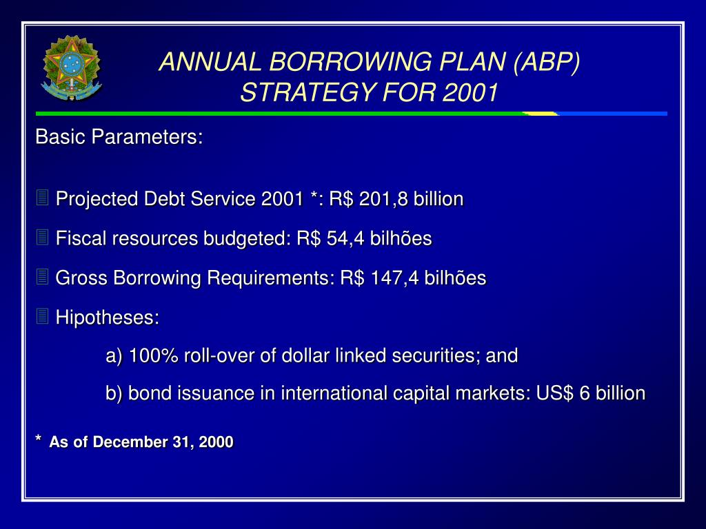 ANNUAL BORROWING PLAN (ABP) STRATEGY FOR 2001