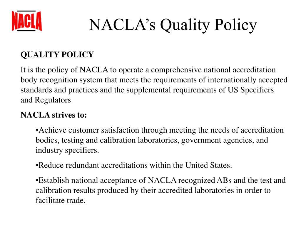 NACLA's Quality Policy