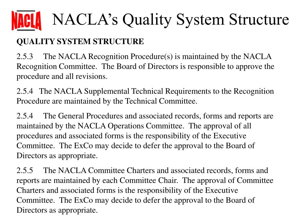 NACLA's Quality System Structure