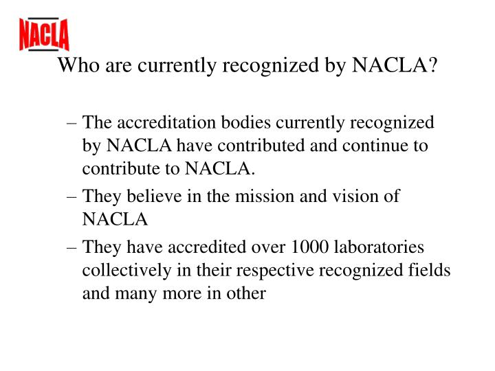 Who are currently recognized by nacla