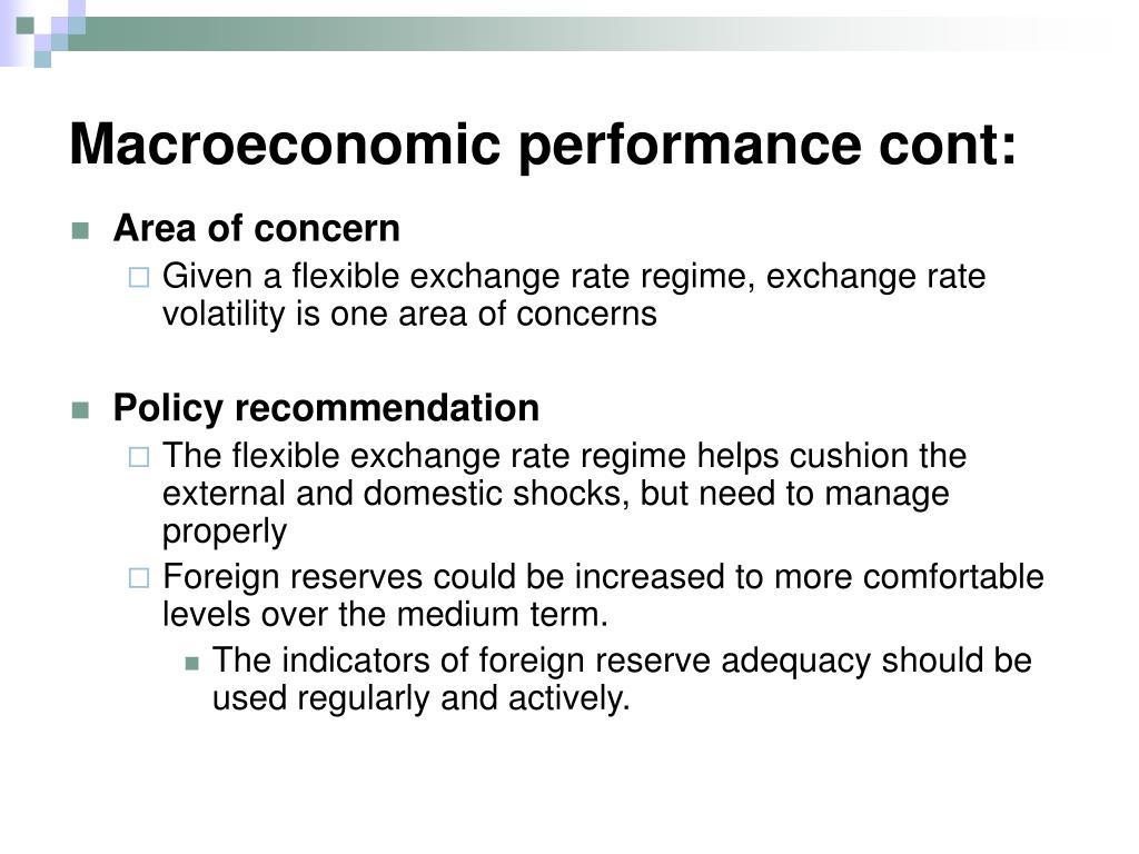 Macroeconomic performance cont: