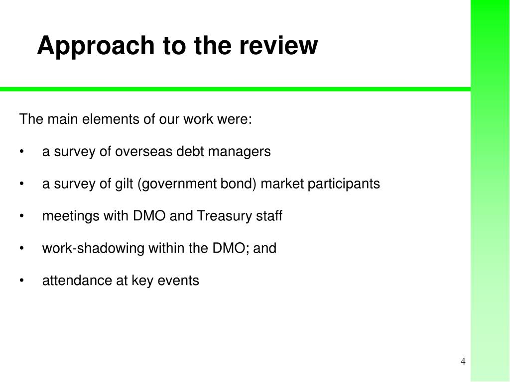 Approach to the review