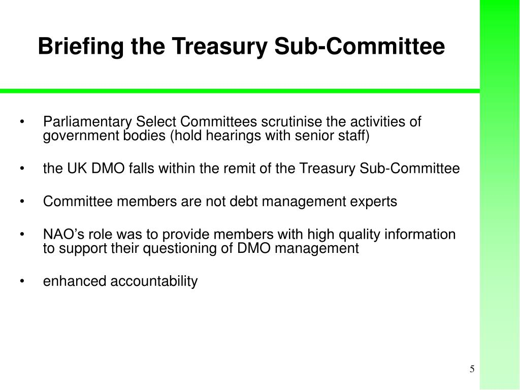 Briefing the Treasury Sub-Committee