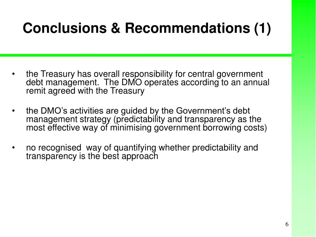 Conclusions & Recommendations (1)
