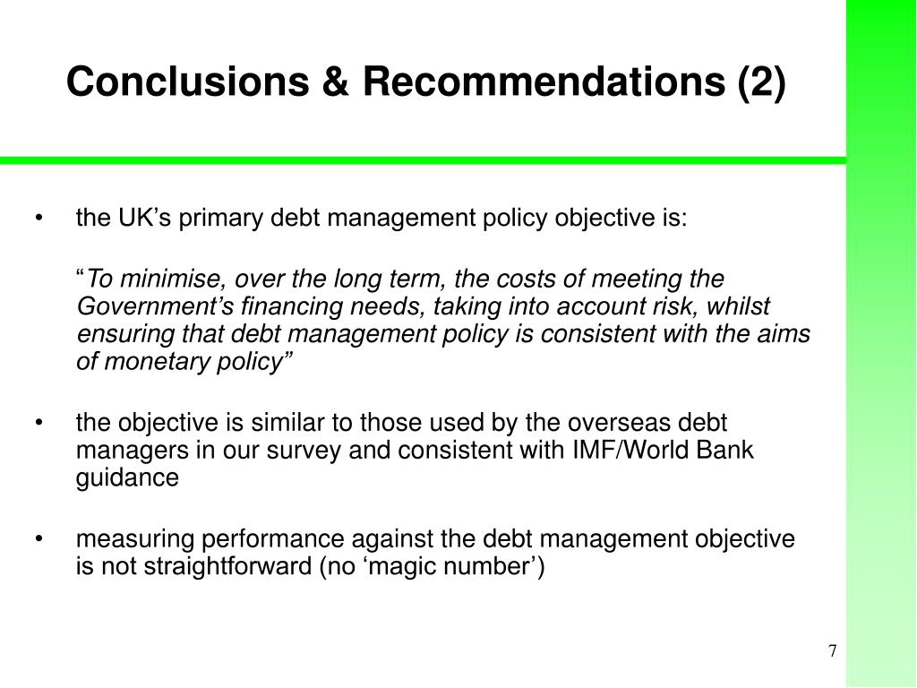 Conclusions & Recommendations (2)