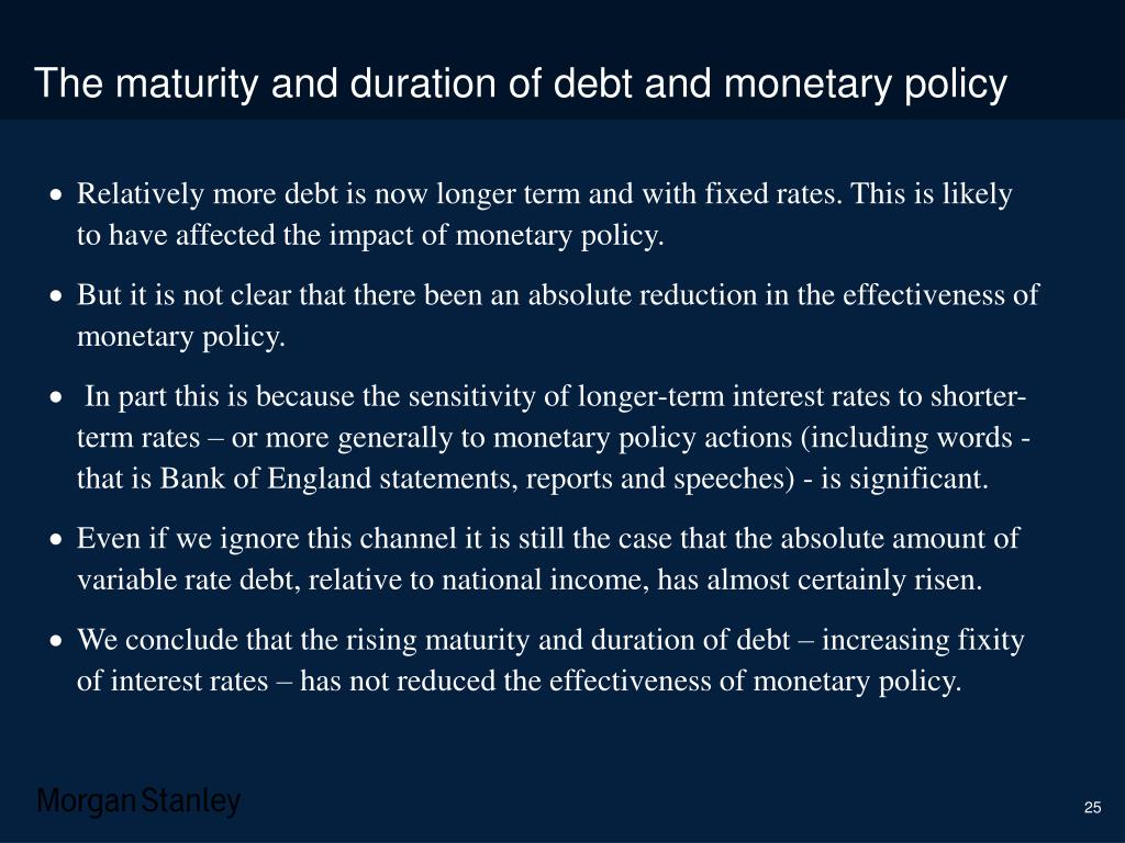 The maturity and duration of debt and monetary policy