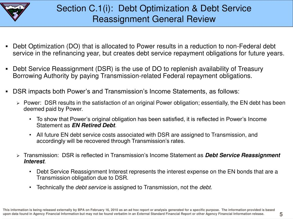 Section C.1(i):  Debt Optimization & Debt Service