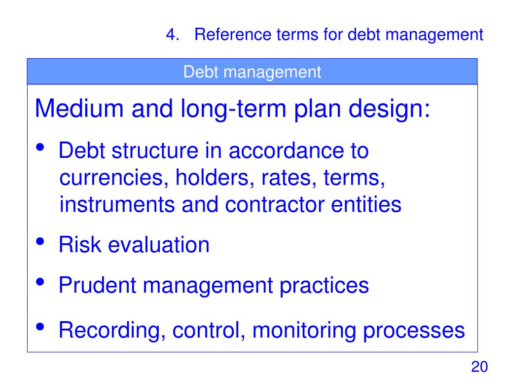 4.   Reference terms for debt management