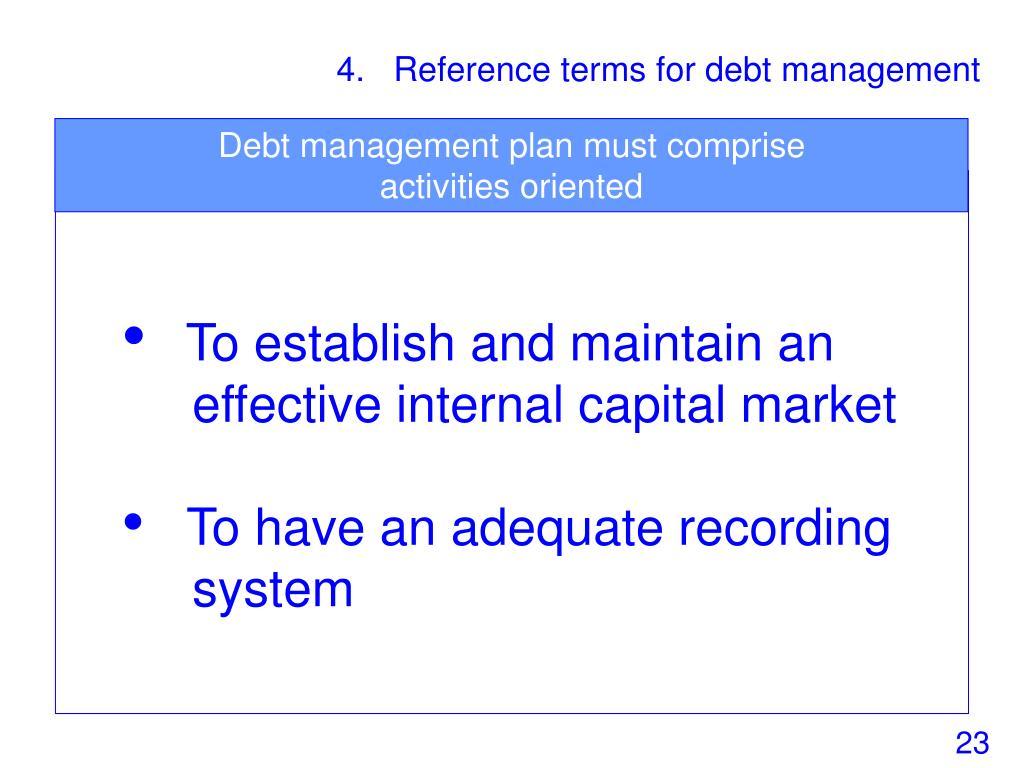 Debt management plan must comprise