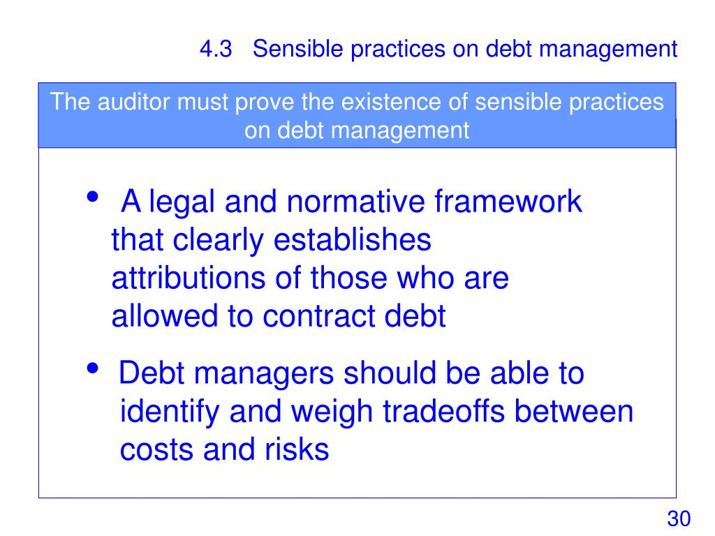 The auditor must prove the existence of sensible practices on debt management