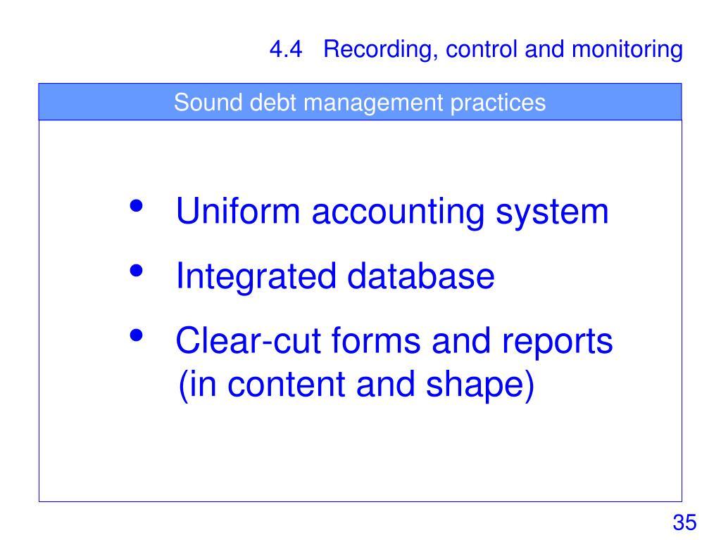 Sound debt management practices