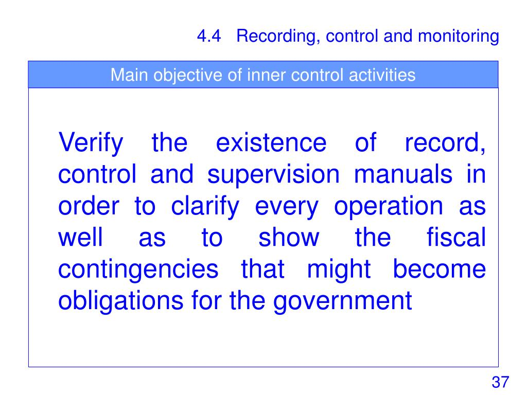 Main objective of inner control activities
