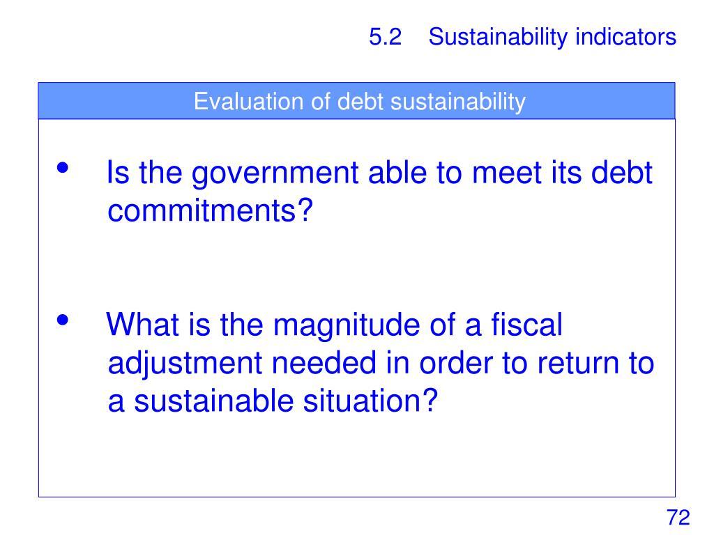 Evaluation of debt sustainability