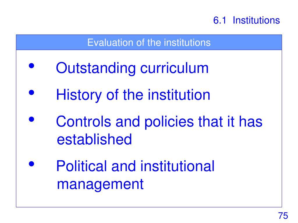 6.1  Institutions