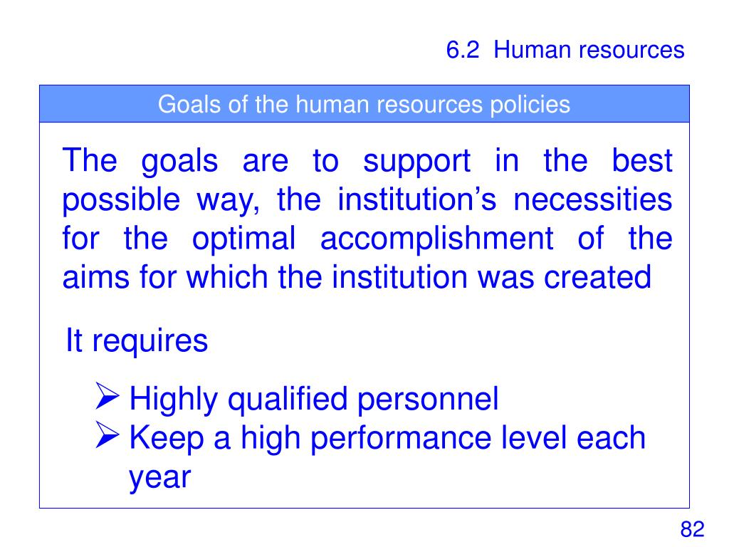Goals of the human resources policies