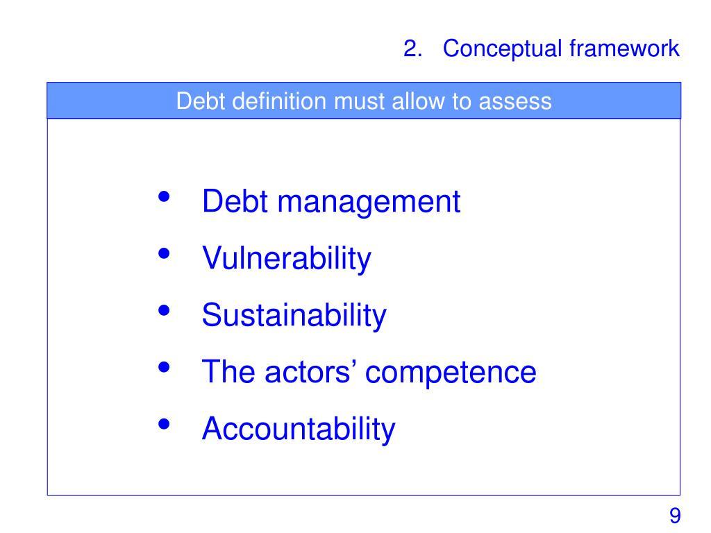 Debt definition must allow to assess