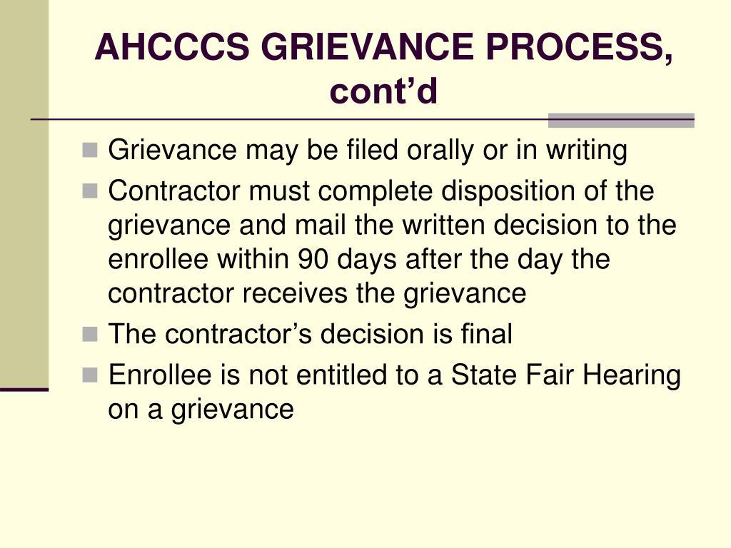 AHCCCS GRIEVANCE PROCESS, cont'd