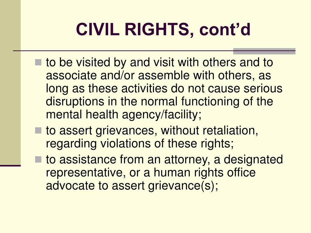 CIVIL RIGHTS, cont'd