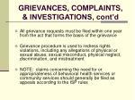 grievances complaints investigations cont d