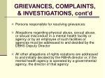 grievances complaints investigations cont d119