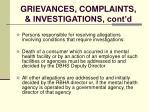 grievances complaints investigations cont d120