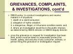 grievances complaints investigations cont d121
