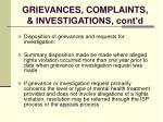 grievances complaints investigations cont d122