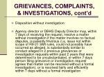 grievances complaints investigations cont d123