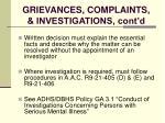 grievances complaints investigations cont d124