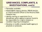 grievances complaints investigations cont d125