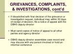 grievances complaints investigations cont d127