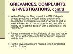 grievances complaints investigations cont d128
