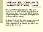 grievances complaints investigations cont d129