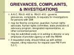 grievances complaints investigations