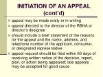 initiation of an appeal cont d