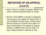 initiation of an appeal cont d100