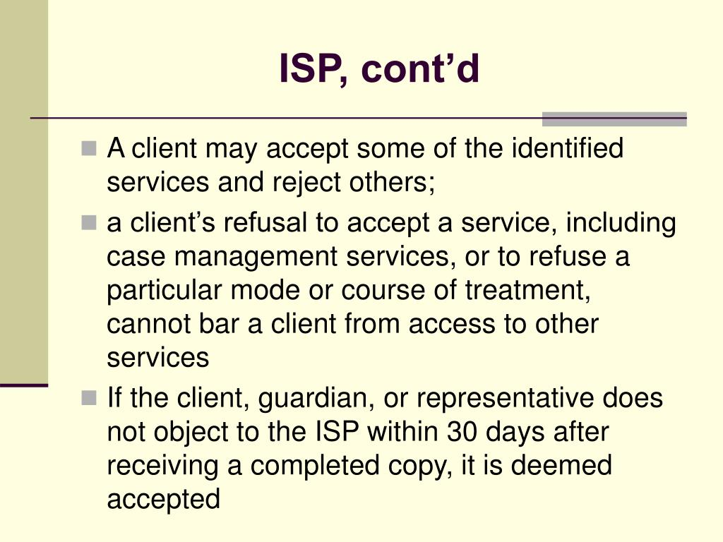 ISP, cont'd