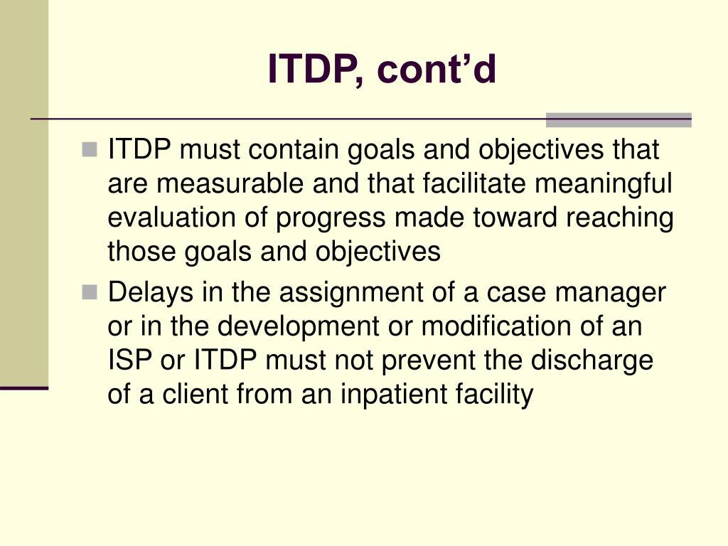 ITDP, cont'd