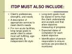 itdp must also include