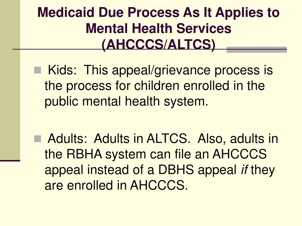 Medicaid Due Process As It Applies to Mental Health Services