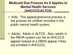 medicaid due process as it applies to mental health services ahcccs altcs