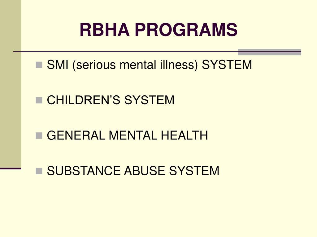 RBHA PROGRAMS