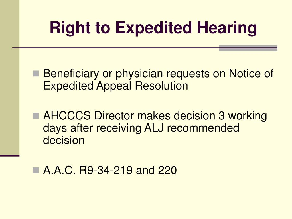 Right to Expedited Hearing