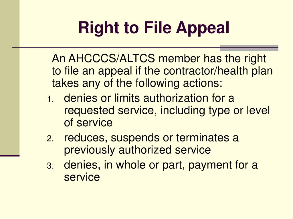 Right to File Appeal