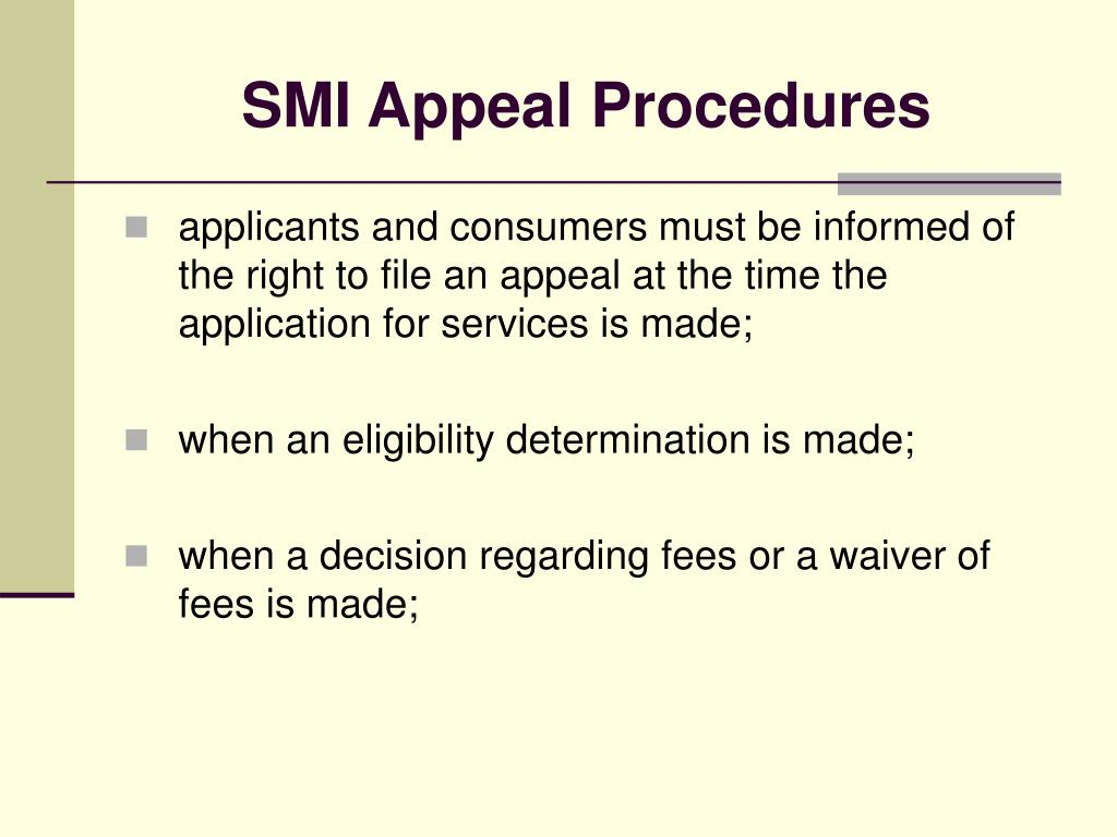 SMI Appeal Procedures