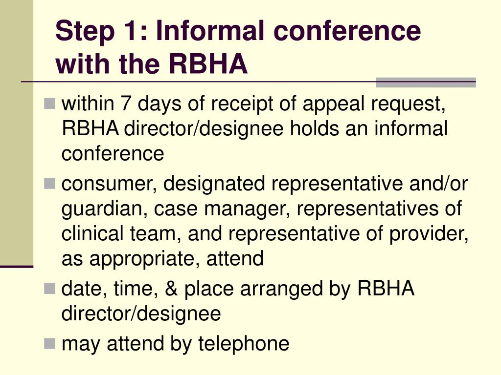 Step 1: Informal conference with the RBHA