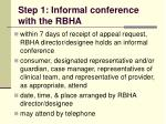 step 1 informal conference with the rbha