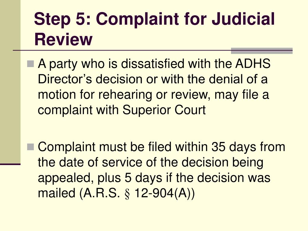 Step 5: Complaint for Judicial Review
