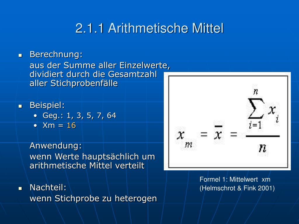 2.1.1 Arithmetische Mittel