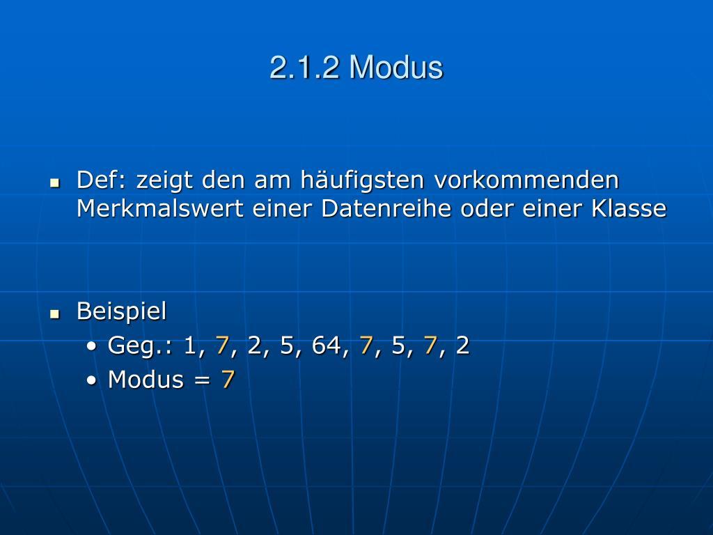 2.1.2 Modus